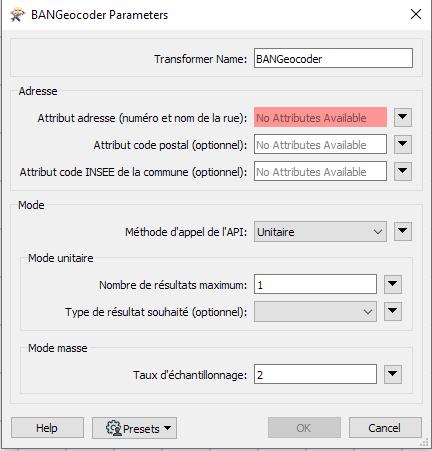 Paramètres de BANGeocoder v10