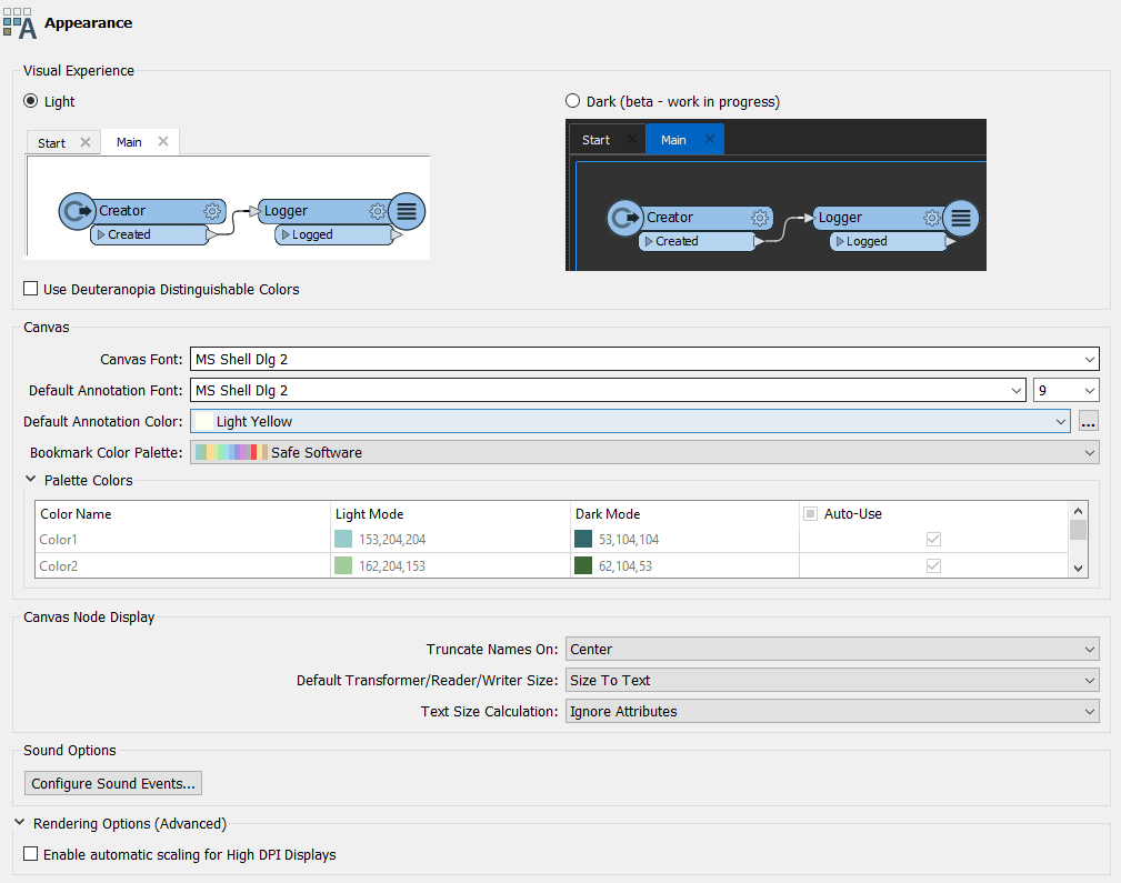 Options FME - Apparence