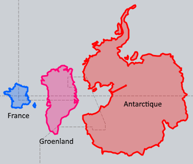 thetruesize.com France, Groenland et Antarctique