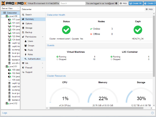 Interface de Proxmox