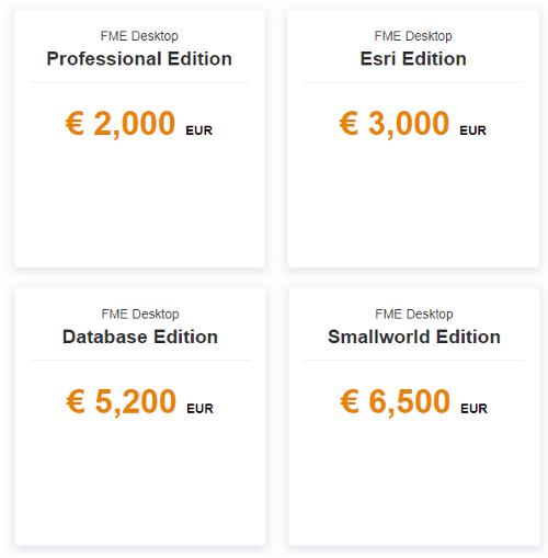 Tarifs de FME Desktop en licence fixe