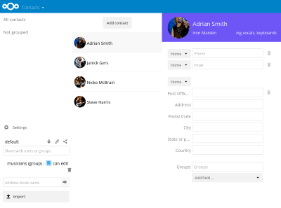 Contacts avec Nextcloud