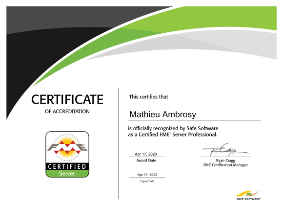Diplôme de Professionnel FME Server certifié Mathieu Ambrosy
